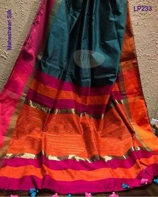 Blue shade Maheshwari Silk Saree