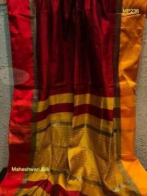 Maroon shade Maheshwari Silk Saree