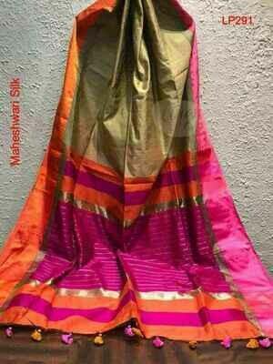 Golden shade Maheshwari Silk Saree