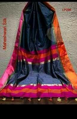 Black shade Maheshwari Silk Saree