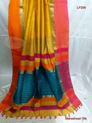 Yellow shade Maheshwari Silk Saree