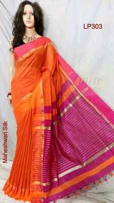 Orange shade Maheshwari Silk Saree