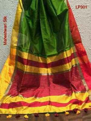 Green shade Maheshwari Silk Saree
