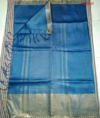 Blue shade Tusser Munga Golden Silk Zari border saree