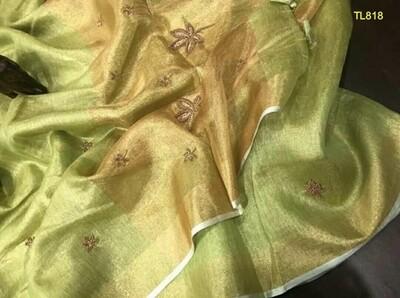 Green Golden shade tissue linen zari border saree with motifs work
