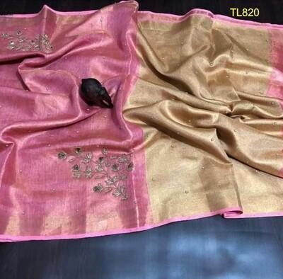 Pink Golden shade tissue linen zari border saree with motifs work