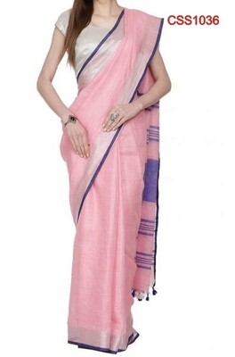 Pink shade cotton slub Saree