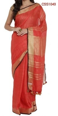 Red shade cotton slub Saree
