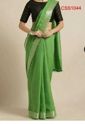Green shade cotton slub Saree