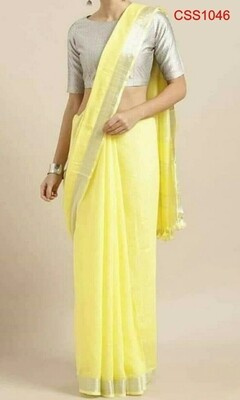Yellow shade cotton slub Saree