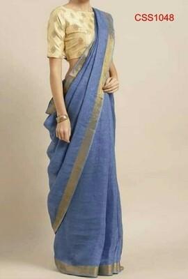 Blue shade cotton slub Saree