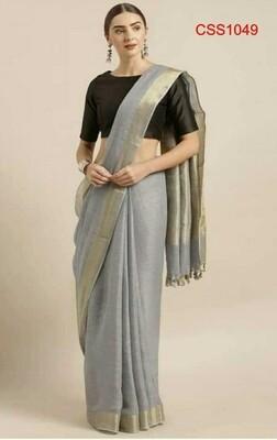 Grey shade cotton slub Saree