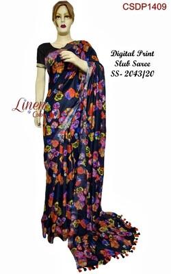 Multicolor Cotton Slub digital print zari border Saree