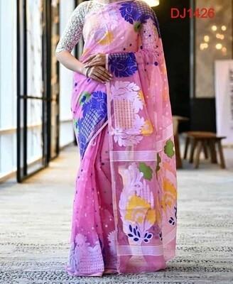 Multicolor Dhakai Jamdani Saree with all-over hand-woven work.
