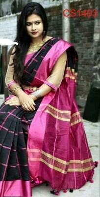 Cotton silk saree with new checks design