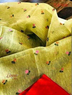 Tissue linen zari border saree with computerized embroidery work