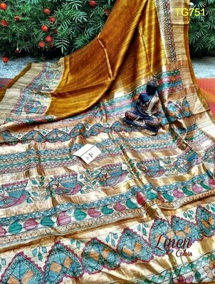 MadhubaniHand-painted Tusser by Ghicha Silk Saree