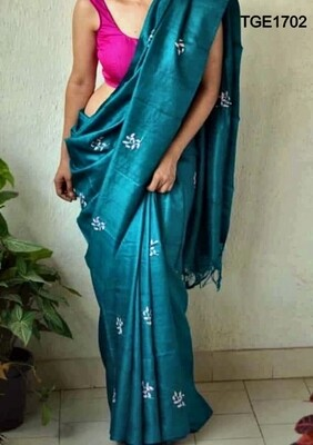 Elegant Tusser Ghicha saree with beautiful embroidery work