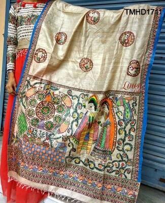 MadhubaniMadhubaniRoyale Tusser Silk Madhubani hand-painted Dupatta