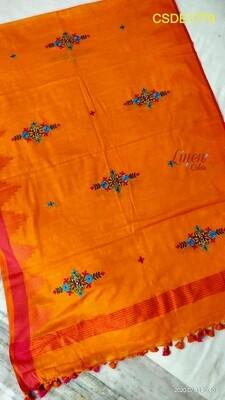 Cotton slub temple bordered dupatta with new computerized embroidery.