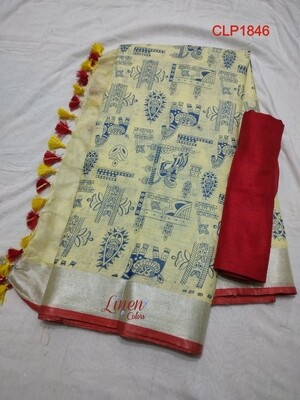 Cotton linen Saree with new exclusive prints