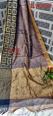 Tissue linen zari border saree in new exclusive weaving design