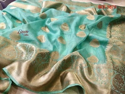 Banarasi Dyed Linen saree with all-over zari jacquard weaving
