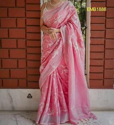 Beautiful Zari border linen saree with new floral computerised embroidery design
