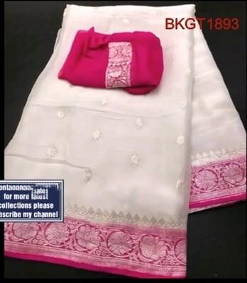 Banarasi Khadi Georgette hand woven silk saree.