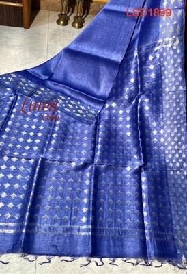 Silk by linen zari border saree with new dobbi weaving