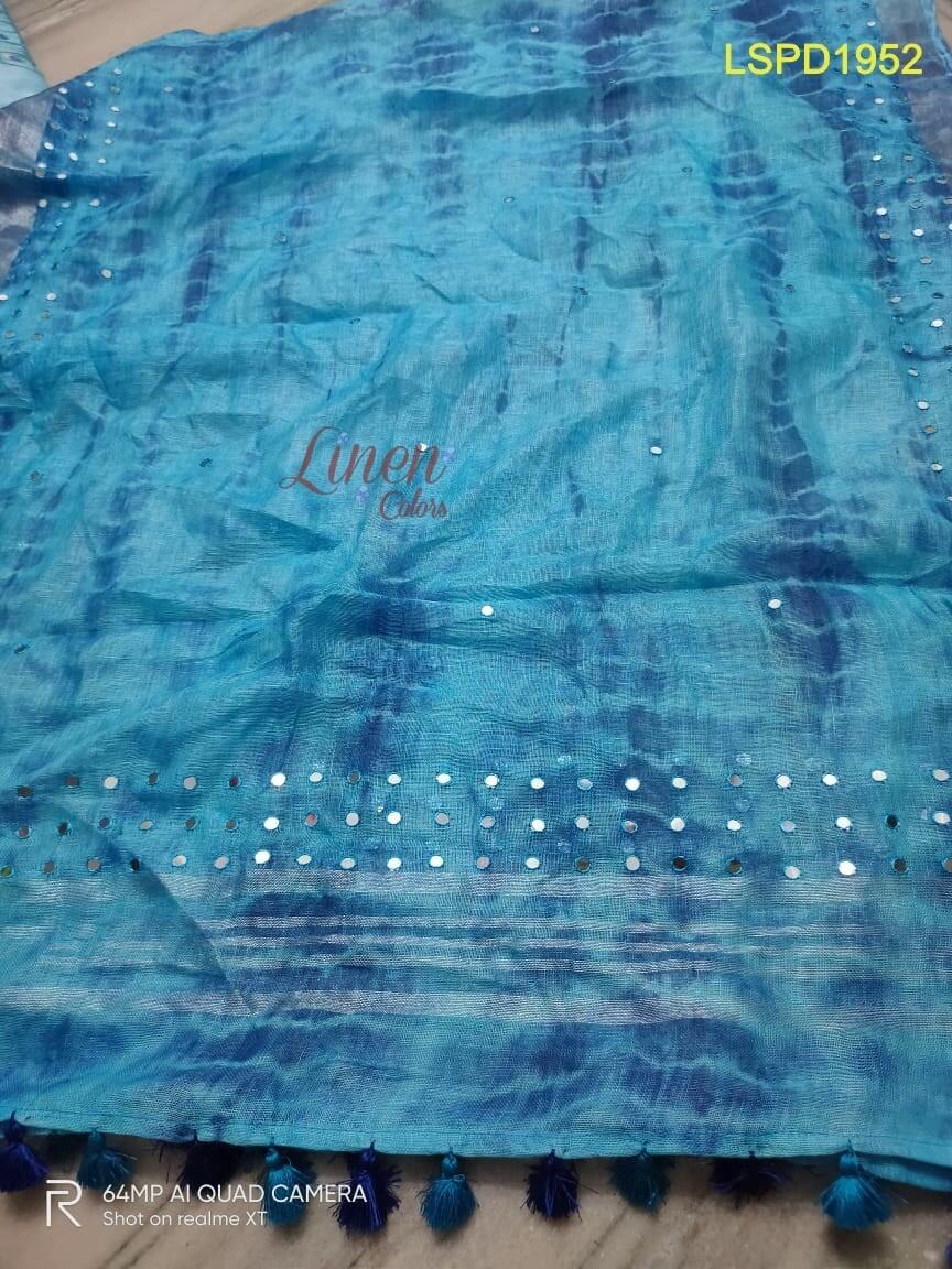 Linen Shibori Print Dupatta with hand mirror work