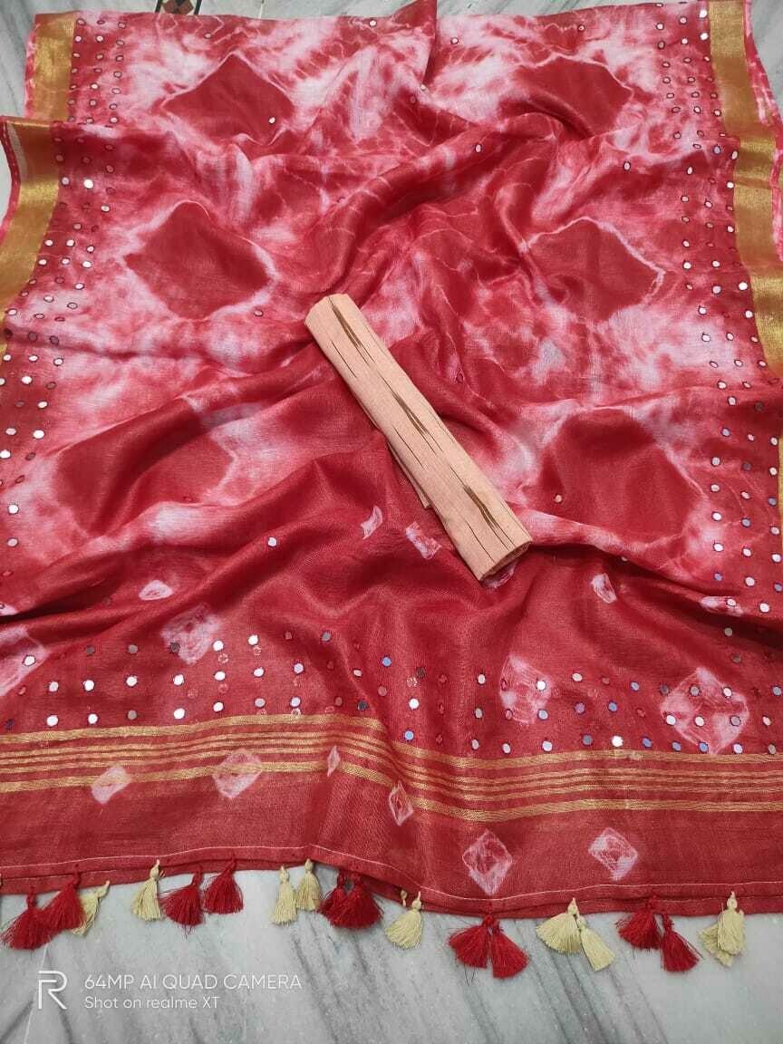 Linen Shibori printed new hand mirror work Dupatta with cotton Ikkat weaving top material.