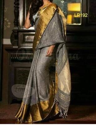 Grey shade hand woven linen mahapar saree