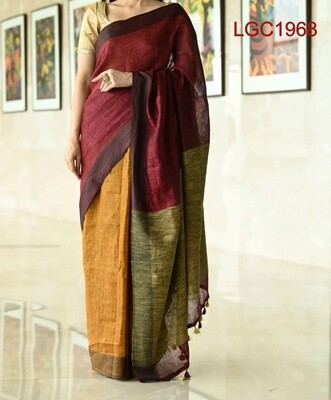 Linen by Linen Saree with Ghicha Pallu