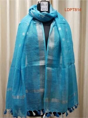 Blue shade Linen Butta Dupatta