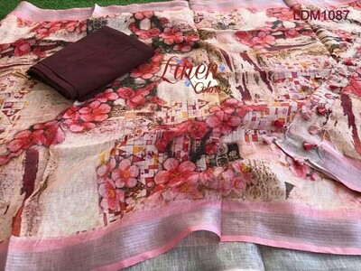 Brown shade Linen Top material with linen digital print Dupatta