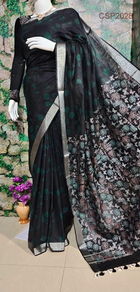 Cotton slub floral printed saree