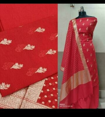 Banarasi Semi Chanderi SIlk full suit material