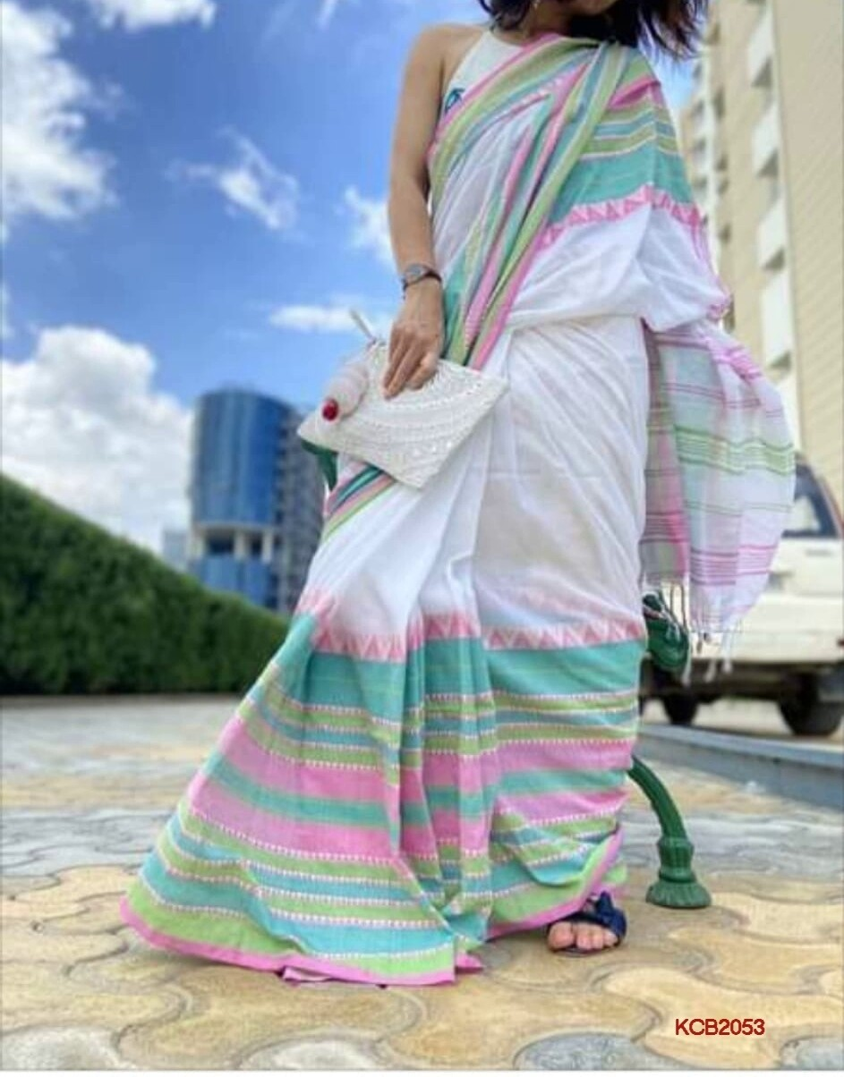 Begompuri Cotton Khadi Saree with jacquard weaving