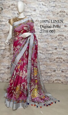 Multicolor Digital Printed Linen Saree