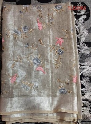 Tissue linen zari border saree with computerized embroidery work