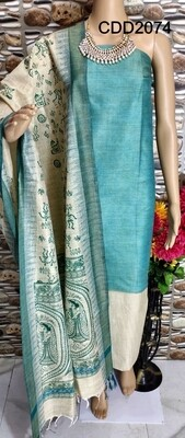 Cotton by Dupion soft material full suit with printed temple border dupatta