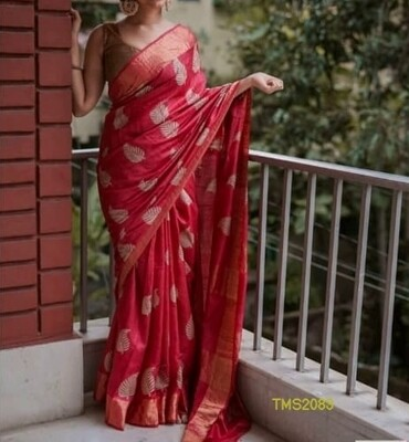 Tusser Muga Golden Silk Zari border saree