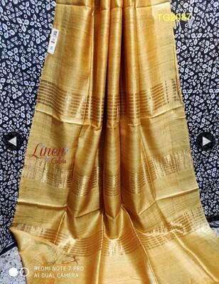 Tusser by Ghiccha Golden Silk Zari border saree