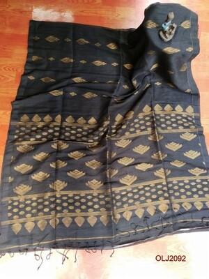 handwoven Jamdani Linen Saree