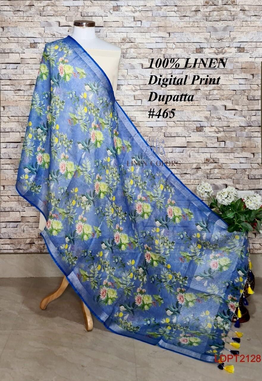 Multicolor linen dupatta with digital print