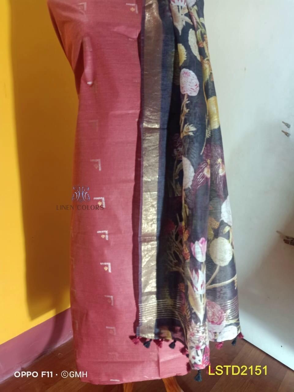 Linen Silk hand woven top material with linen silk digital print dupatta