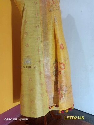 Linen Silk hand woven top material with linen silk digital print dupatta