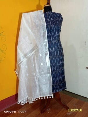 Cotton by slub top material with linen dupatta
