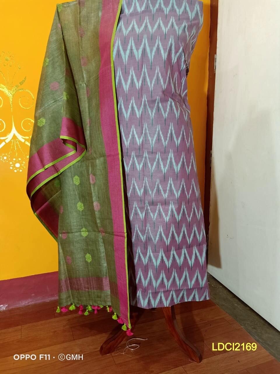 Cotton by slub top material with linen dupatta